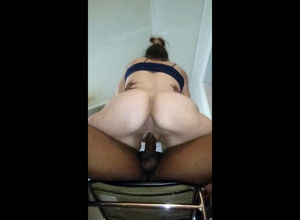 Slutwife dumping vag during railing..