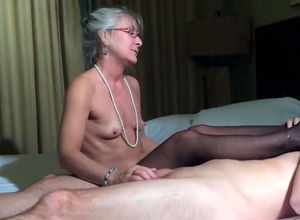 Tiny breasts senior grandma jacking..
