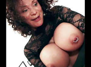 Playful grannie with phat pierced..