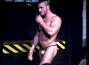 Muscular masculine stripper dancing..