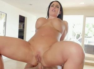 Romping huge-titted customer on the..