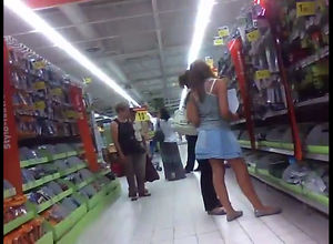 Grocery supermarket spy camera upskirt