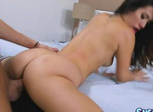 Romping dame while her guy witnessing tv