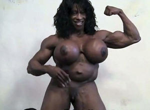 Real dark-hued nymphs bodybuilder with..