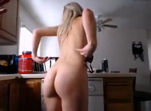 Dutch light-haired housewife jiggling..