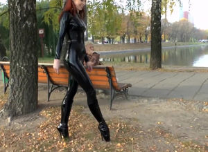 Handsome doll in spandex catsuit and..