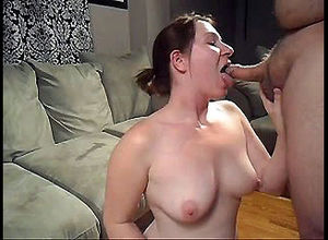 Crazy mature wifey deep-throats man..